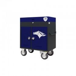 granatowo-czarna paka jeździecka z kołami