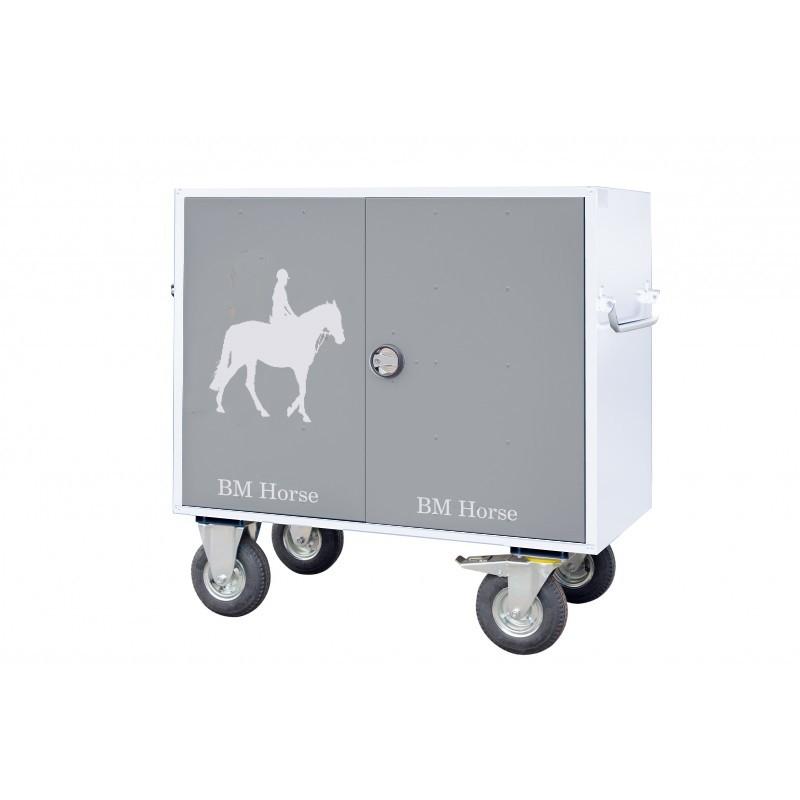 stalowa paka jeździecka biało-szara