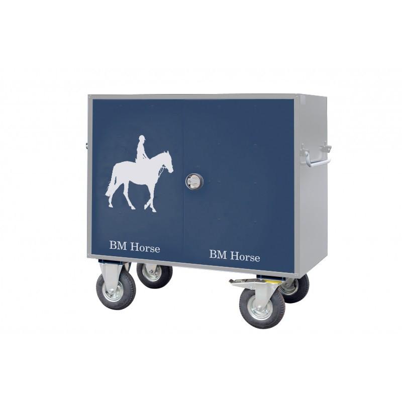 szaro-niebieska skrzynia jeździecka