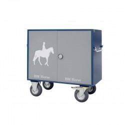 niebiesko-szara aluminiowa szafka jeździecka