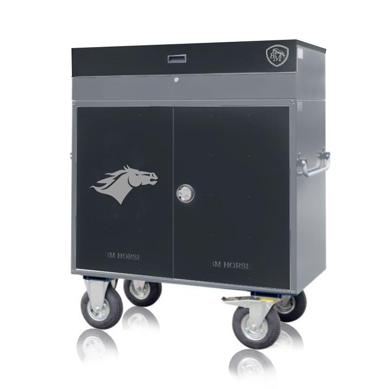skrzynia na sprzęt jeździecki czarno-szara na kółkach