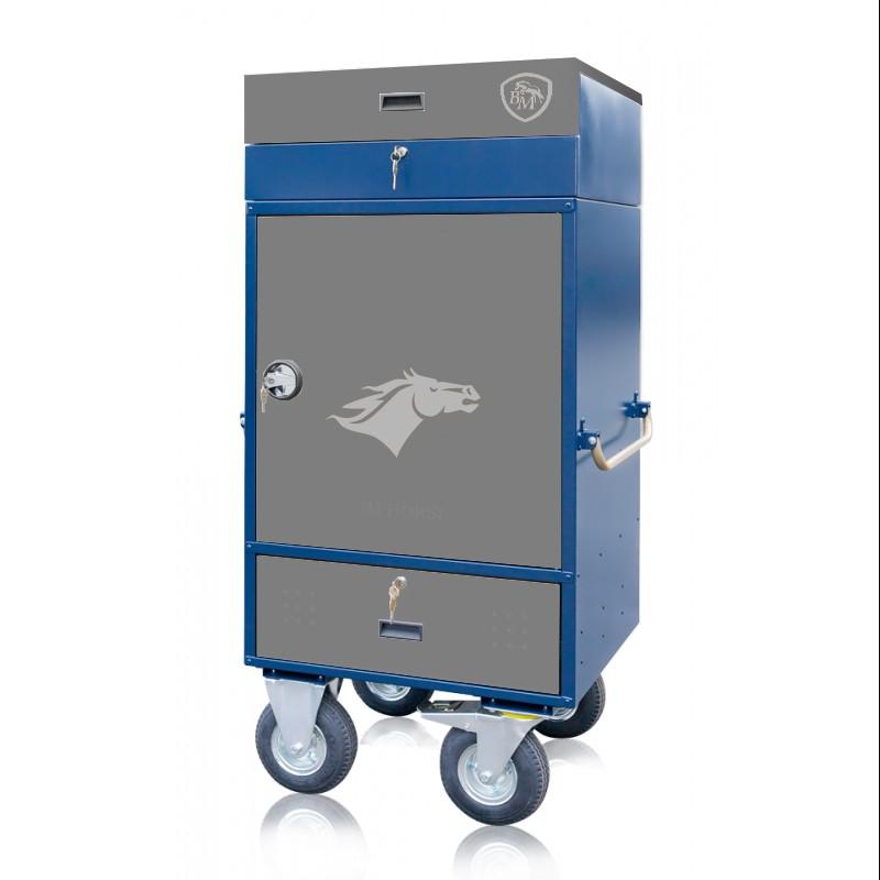 szafka na sprzęt jeździecki niebiesko szara