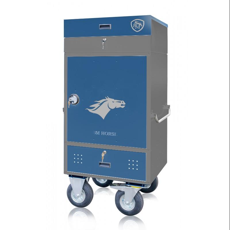 szaro-niebieska szafka na sprzęt jeździecki z nadstawką